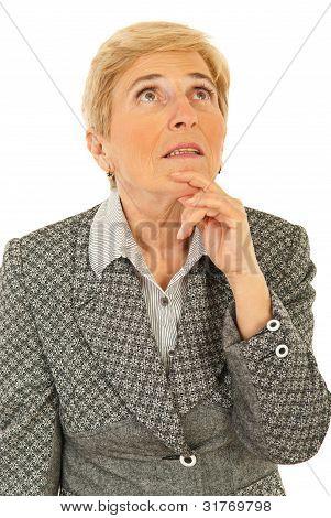 Senior Business Woman Thinking