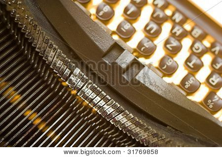 Macro detail of a vintage typewriter