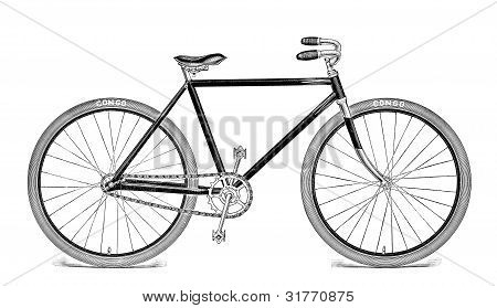 Antique Bicycle Illustration Isolated on White
