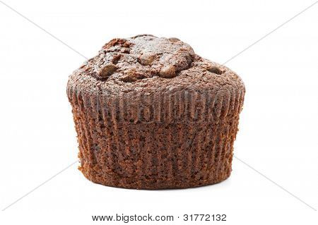 chocolate chip muffin isolated on white