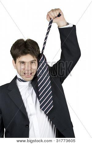 empresário, gritando e puxando sua gravata