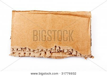 Ripped piece of cardboard on white
