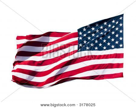 Amerikanische Flagge Over White Background