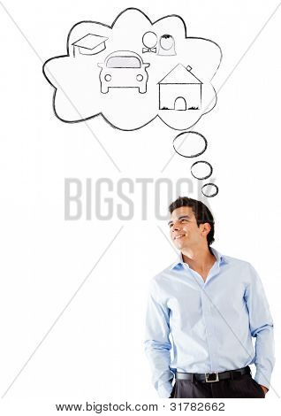 Man day dreaming - isolated over a white background