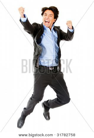 Successful business man celebrating and jumping - isolated over white
