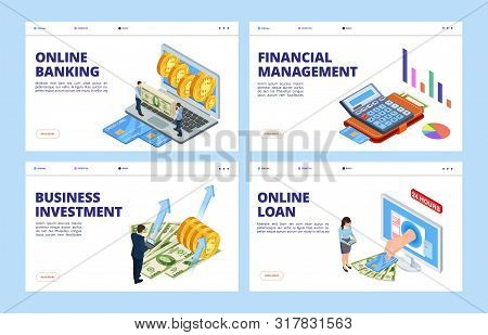 poster of Financial Landing Page. Business And Finance Vector Banners Template, Online Banking, Financial Mana