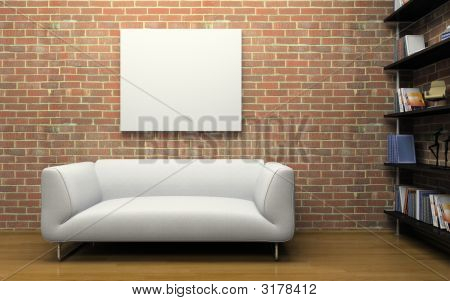 Modern Interior With Brick Wall And White Sofa