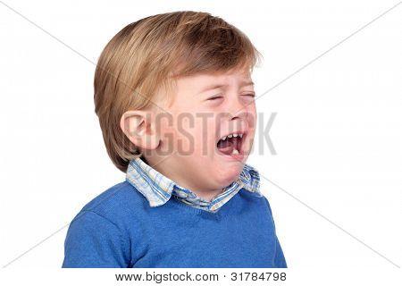 Beautiful baby crying isolated on white background