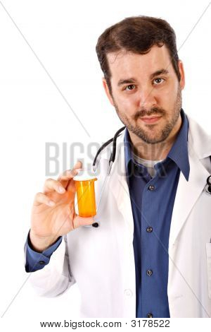 Male Doctor Holding Empty Drug Bottle