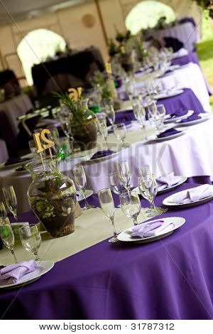 Wedding tables set up for fine dining in Green and Purple, unique centerpieces.