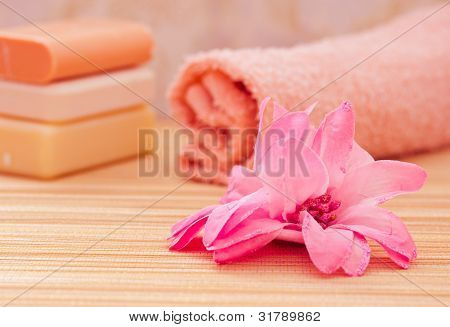 Daily Spa Objects, Towel, Soaps, Pink Flower
