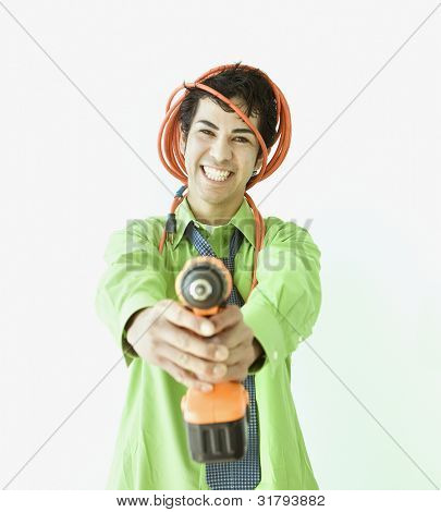 Hispanic businessman pointing drill