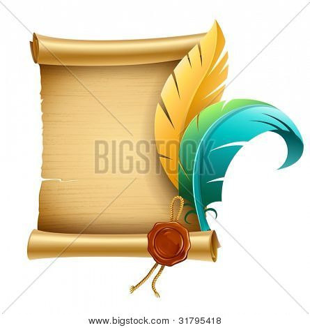 old script script with stamp and feathers for writing vector illustration isolated on white background EPS10. Transparent objects used for shadows and lights drawing.