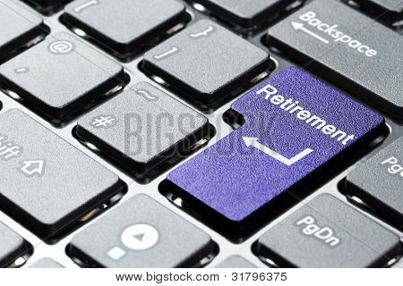 Purple retirement button on the keyboard
