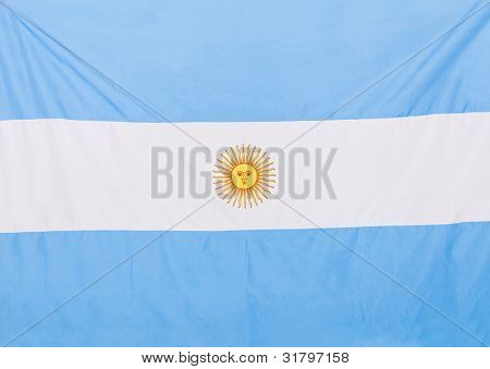 Close up shot of the Argentinean flag