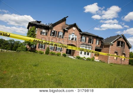 Modern Suburban House Destroyed By Fire