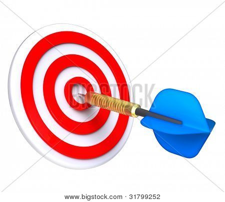 Red target and blue dart close-up isolated on white background. Computer generated 3D photo rendering.