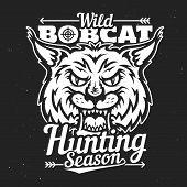 Hunting Club Badge, Wild Bobcat Hunt T-shirt Print Template. Vector Hunting Season Lynx Animal With  poster