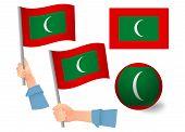Maldives Flag In Hand Set. Ball Flag. National Flag Of Maldives Vector Illustration poster