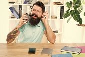 Regular Office Day. Man Bearded Guy Headphones Sit Office Listen Music Sing Song. Worker With Coffee poster