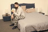 Man Bearded Hipster Sleepy Face Pajamas Waking Up Bedroom Interior. Daily Schedule For Healthy Lifes poster