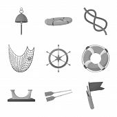 Vector Illustration Of Nautical And Voyage Sign. Set Of Nautical And Seafaring Stock Symbol For Web. poster
