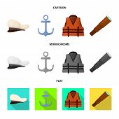 Isolated Object Of Journey And Seafaring Symbol. Collection Of Journey And Vintage Stock Symbol For  poster