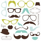 stock photo of mustache  - Retro Party set  - JPG