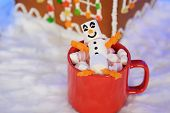 The Happy Marshmallow Little Man In Mag, Hand-made Eatable Gingerbread House, Snow Decoration poster