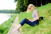 Lost In Fairytale. Reading Is My Hobby. Summer Study. Student Girl With Book Outdoor. Inspired By No poster