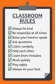 Classroom Rules Poster. Clipboard Over Orange Background poster