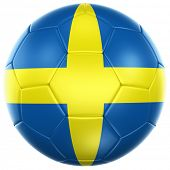 stock photo of sweden flag  - 3d rendering of a Swedish soccer ball isolated on a white background - JPG
