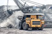 Ore Loading With A Powerful Excavator. Loading A Large Mining Truck. Mining Operations In The Face O poster