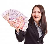 stock photo of fantail  - Woman with  money - JPG
