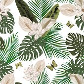 Pastel Color Lily Flowers Background Of Green Palm, Banana, Monstera Leaves Trendy Hand Drawn Style  poster