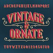 Vintage And Ornate Alphabet Font. 3d Effect Letters And Numbers. Vector Typeface For Your Typography poster