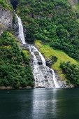 beautiful in geiranger fjord waterfall. Norway poster