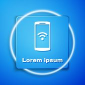 White Smartphone With Free Wi-fi Wireless Connection Icon Isolated On Blue Background. Wireless Tech poster