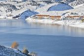 image of horsetooth reservoir  - mountain lake in winter scenery  - JPG