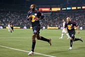 CARSON, CA. - MAY 7: New York Red Bulls F Thierry Henry #14 (L) celebrates an early goal with New Yo