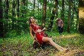 Wild Attractive Woman In Forest. Folklore Character. Living Wild Life Untouched Nature. Sexy Girl. W poster