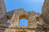 Windows At West Side Of The Ruins Of Early Pre-romanesque Church Of Holy Salvation Near Small Town V poster