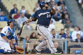 LOS ANGELES - MAY 16: Milwaukee Brewers 1B Prince Fielder #28 takes a swing during the Major League