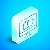 Isometric Line Computer Monitor With House Under Protection Icon Isolated On Blue Background. Protec poster