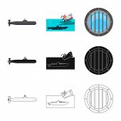 Isolated Object Of War And Ship Symbol. Set Of War And Fleet Vector Icon For Stock. poster