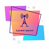 Purple Antenna Icon Isolated On White Background. Radio Antenna Wireless. Technology And Network Sig poster