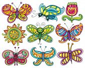Butterfly icon set. Beautiful, cartoon, colorful butterflies with open wings isolated  on white back