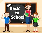 Teacher Woman With Schoolchildren Near The Blackboard. Back To School. poster
