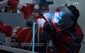 Welder Erecting Technical Steel,industrial Steel Welder In Factory Technical,argon Shielding Results poster