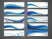 stock photo of transformation  - Vector illustration of banners or website headers with abstract wave forms in blue color - JPG